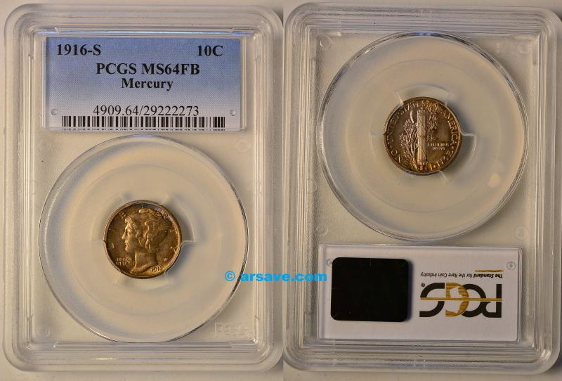 1916-S Mercury Dime PCGS MS64FB with Toning