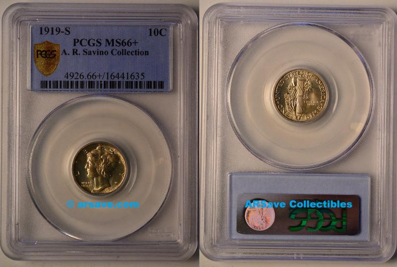 1919-S Mercury Dime PCGS MS66+ A. R. Savino Collection