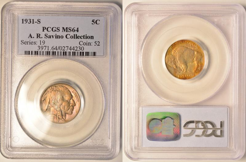 From the A. R. Savino Collection.  PCGS MS64 Toned Buffalo Nickel.