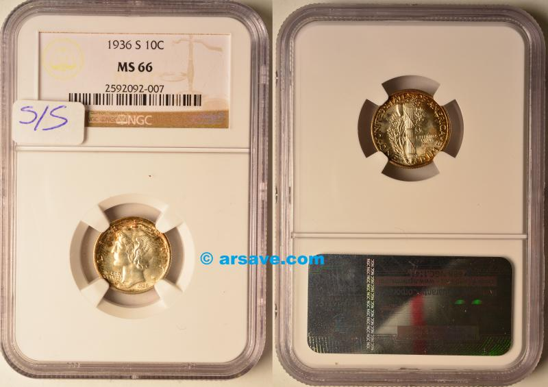 1936-S over S NGC MS66 Dime