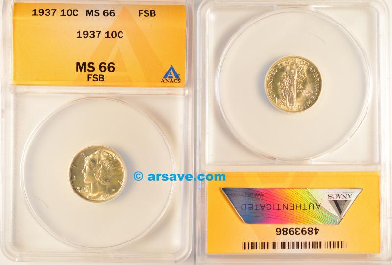 Gem White 1937 ANACS Graded MS66FSB Mercury Dime