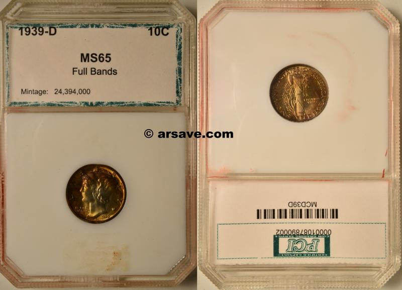 1939-D Full Band Mercury Dime