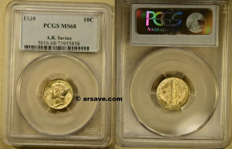 1939 Mercury Dime PCGS Graded MS68