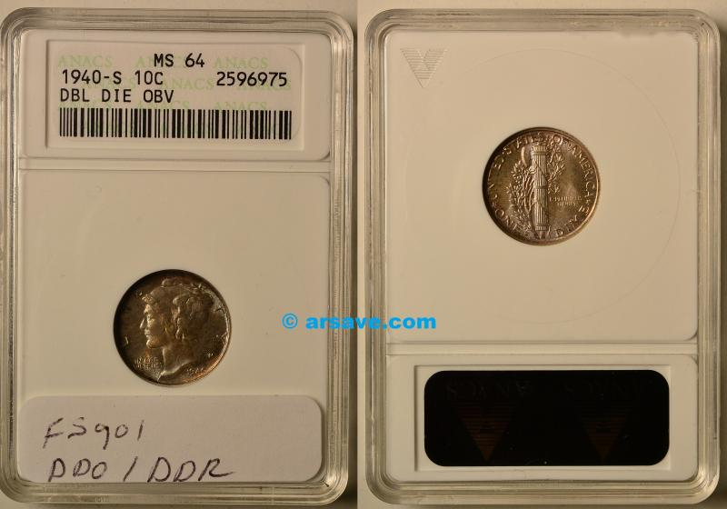 1940-S DDO/DDR FS-901 ANACS Old Small Holder Graded MS64