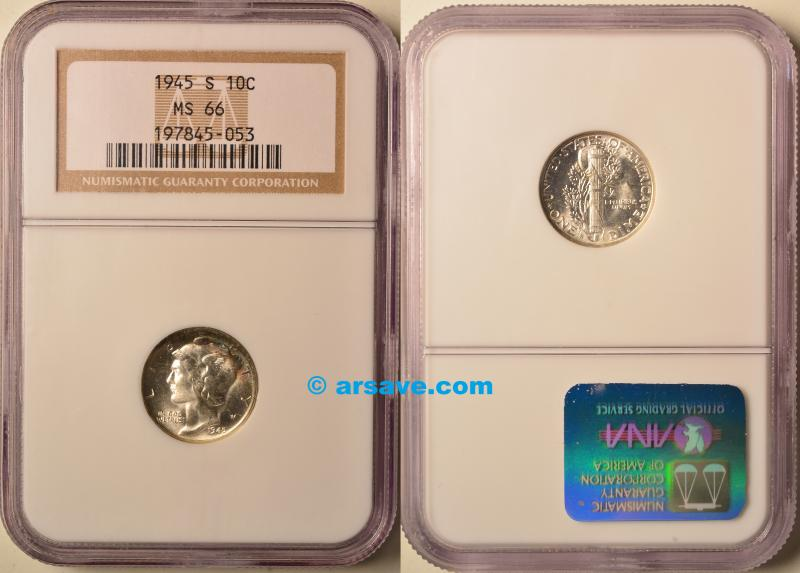 1945 s NGC Graded Mercury Dime with Crescent Tone