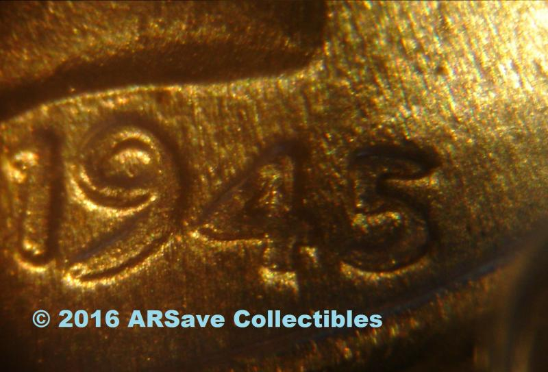 1945 Double Die Obverse Date Close Up