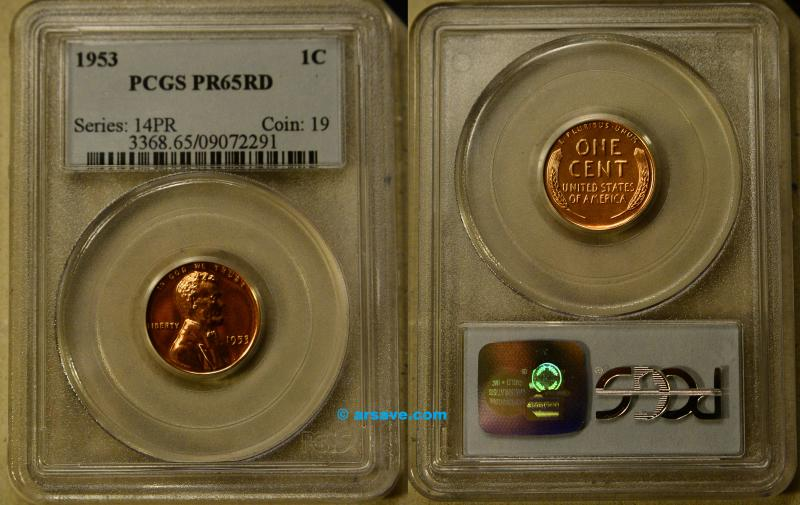 1953 Proof PR65RD Lincoln Cent