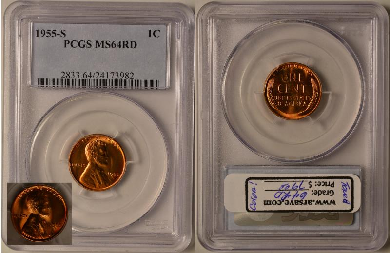 PCGS Graded MS64RD 1955-S Lincoln Cent with pleasing toning.