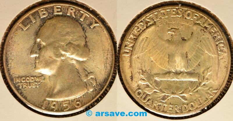 1956 Uncirculated Toned Washinton Quarter Silver