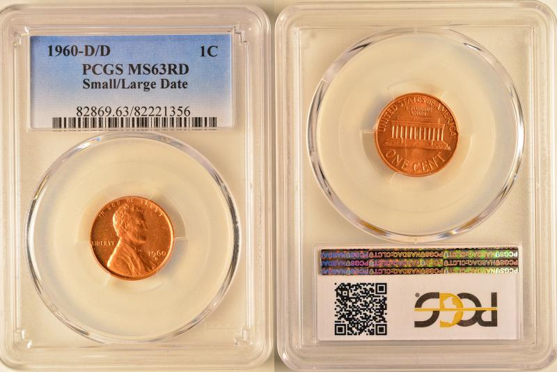 1960-D/D Small/Large Date Lincoln Cent PCGS Graded MS63RD