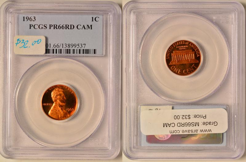 1963 Lincoln Cent PCGS PR66RD Cam