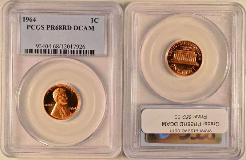 1964 Lincoln Cent PCGS PR68RD DCAM ARSAVE