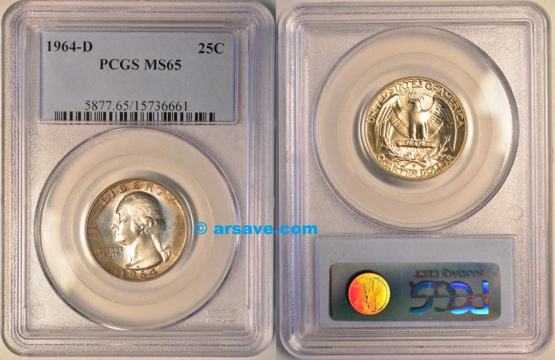 1964-D Washington Quarter with Roll End Toning PCGS MS65